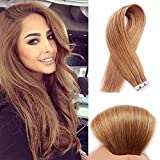 SHOWJARLLY Seamless Remy Tape in Hair Extensions Real Human Hair 24inch Straight #8 Light Chestnut Brown Tape on Skin Weft Hair Extensions (50g,20Pcs) Review