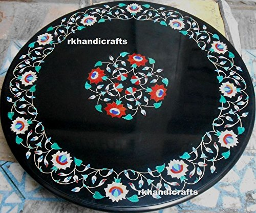 36 Inches Black Marble Table Top Sofa Table Inlay Work with Semi Precious Gemstones Elegant Home Interior