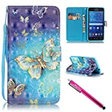 G530 Case, Galaxy Grand Prime Case, Firefish Stand Flip Folio Wallet Cover Shock Resistance Shell with Magnetic Closure for Samsung Galaxy Grand Prime G530 G530H G5308-Butterfly