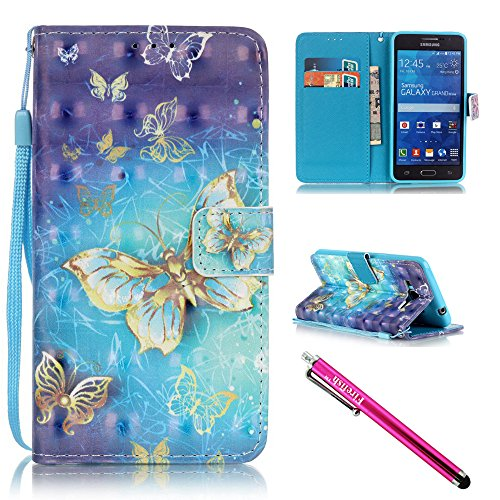 Price comparison product image G530 Case, Galaxy Grand Prime Case, Firefish Stand Flip Folio Wallet Cover Shock Resistance Shell with Magnetic Closure for Samsung Galaxy Grand Prime G530 G530H G5308-Butterfly