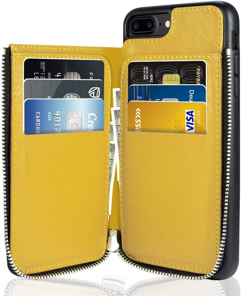 "iPhone 7 Plus Wallet Case, iPhone 8 Plus Leather Case, LAMEEKU Shockproof Apple 7 Plus Credit Card Holder Cases for Apple iPhone 7 Plus/8 Plus 5.5""-Yellow"