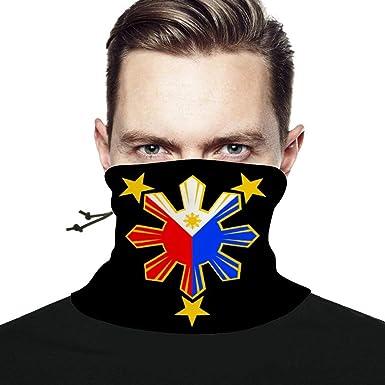 Neck Warmer For Kids Face Mask 3 Stars and Sun Filipino Philippines Flag Neck Gaiter Reusable Black
