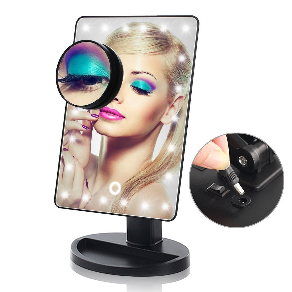 Lighted Makeup Mirror, 24 LED Touch Screen Vanity Mirror with 10x Magnification ,USB Cable and Battery Dual Power Source Dungoo