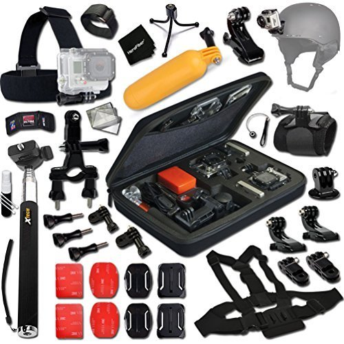Xtech Hiking Accessories Kit Bundle with Head Strap Mount, Selfie Stick Monopod Pole, Helmet Harness Mount and Accessories for Gopro Hero 4/ 3+/ 3/ 2/ 1 (Silver) by Xtech