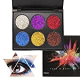 KRABICE 6 Colors Glitter Eye Shadow Brighten Palette Flash Shimmer Natural Glitter Fix Gel Cosmetic Makeup Body Face Nails Hair Decoration Pigment Make Up Palete for Festival Christmas - #2