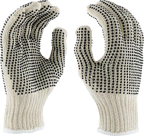 West Chester K708SKBS PVC Dotted Both Sides String Knit Gloves, White, Large (Pack of -