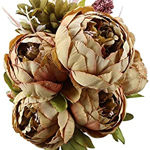 Duovlo Fake Flowers Vintage Artificial Peony Silk Flowers Wedding Home Decoration,Pack of 1 (Coffee) 55