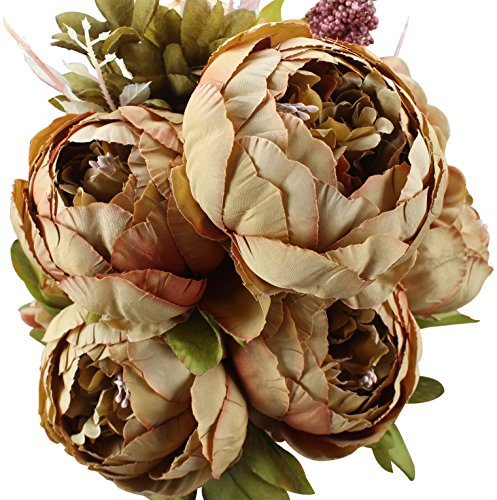 Brown Peony - Duovlo Fake Flowers Vintage Artificial Peony Silk Flowers Wedding Home Decoration,Pack of 1 (Coffee)