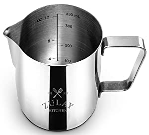 Frothing Pitcher – Best Milk Frother Steamer Cup - Easy to Read Creamer Measurements Inside - Foam Making for Coffee Matcha Chai Cappuccino Latte & Hot Chocolate – Stainless Steel 20oz/580ml
