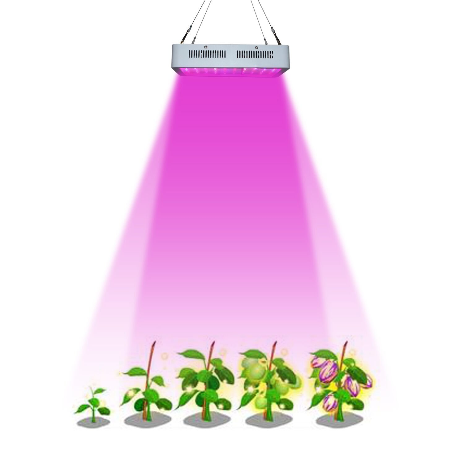 RYSA LIGHT LED Indoor Grow Light 1000W Full Spectrum Double Chips Growing Lamps with UV IR for Garden Plants Veg Flower Hydroponic Greenhouse