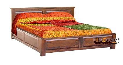 5184007124 LifeEstyle King Size Solid Wood Bed With Box Storage (Sheesham Wood - Honey  medium)