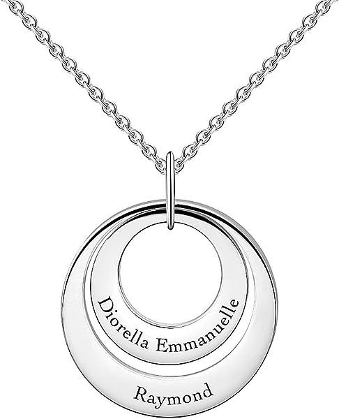 012ae7dbbe19 SOUFEEL Collar Plata Colgante con Nombre Personalizados Joya Mujer Regalo  para Familia Novia Cumpleaño Cadena Más Extención