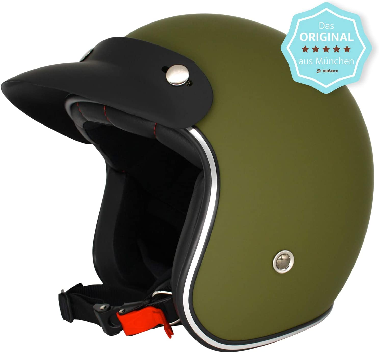 Original Fr/äulein Irmi Retro Casco de Vespa color verde militar. calidad seg/ún la norma ECE casco de scooter para mujeres y hombres en elegante aspecto vintage casco jet con visera de sol