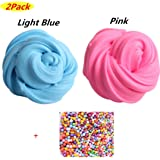 Fluffy Slime Kit-2Pack de Fluffy Floam Slime Putty,Clay Playdough,Rubber Mud para Niños y Adultos Stress Relief Toy No Borax,ideal para ejercicios de mano y dedos(incluye 1Pack de Colorful Foam Balls)