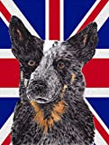 Caroline's Treasures SC9853CHF Australian Cattle Dog with English Union Jack British Canvas House Flag