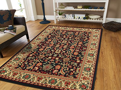 Entryway Traditional (Traditional Area Rugs Black 4x6 Rugs for Entryway and Living Room Foyer Rugs 4 by 6 Clearance)