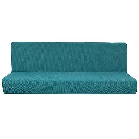 Fenteer Cubierta de Sofá Sin Brazo Color Sólido Plegable Antideslizante del Futón para Banco Sofá de Patio - Azul s, Individual