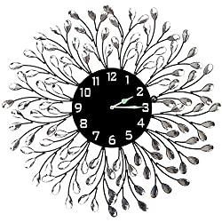 Lulu Decor, Decorative Crystal Metal Vine Wall Clock, Diameter 25, 9.50 Black dial in Large Arabic Numerals, Perfect for Housewarming Gift (L72NDC)