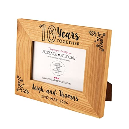Personalised 10 Years Together Oak Photo Frame 10th Wedding
