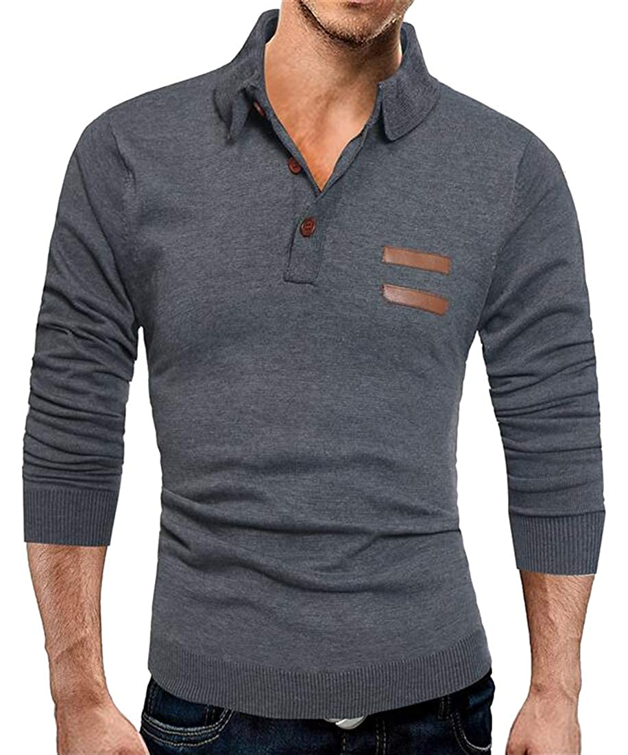 Fubotevic Mens Faux Leather Stand Collar Thermal Stitch Knitted Pullover Sweater Jumper