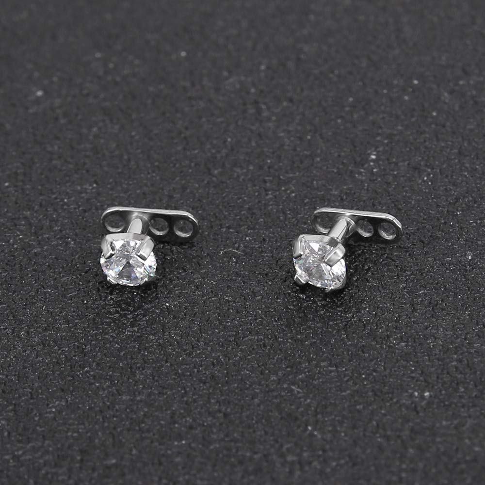 14G Shiny Crystal Dermal Anchor Tops and Bases 316L Surgical Steel Body Dermal Piercing Microdermal 4PCS Pierced Art Trends