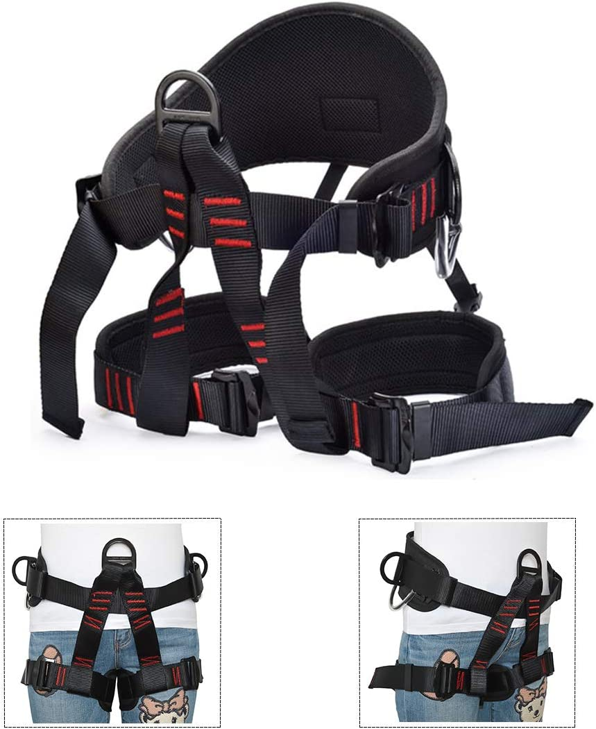 Carbon Steel 25KN Climbing Safety Harness Buckle Webbing Belt Slotted D Ring