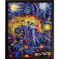 Uhomate Jack Sally Jack Sally Pesadilla antes de Navidad Vincent Van Gogh Noche estrellada Posters Inicio Lienzo Arte de la pared Regalo para bebés Decoración infantil Sala de estar Decoración de la pared A005 (8X10)