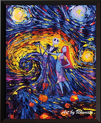 Uhomate Jack Sally Jack Sally Nightmare Before Christmas Vincent Van Gogh Starry Night Posters Home Canvas Wall Art Baby Gift Nursery Decor Living Room Wall Decor A005 (8X10)
