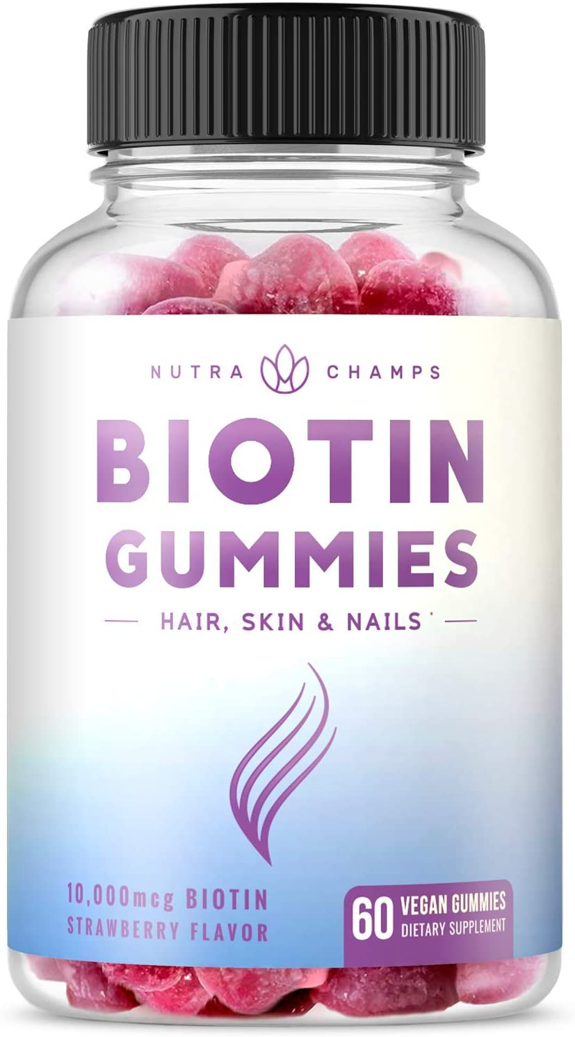 Biotin Gummies 10,000mcg [Highest Potency] for Healthy Hair, Skin & Nails for Adults & Kids - 5000mcg in Each Gummy Vitamin - Vegan, Non-GMO, Pectin-Based Hair Growth Supplement