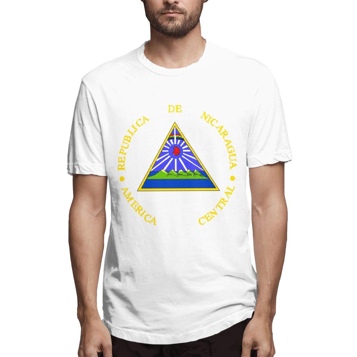 Smooffly Mens Nicaragua National Emblem Ultra Soft Crew Neck Coton Short Sleeve T-Shirts