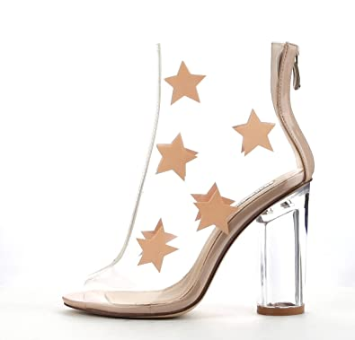 93ed9e40eee CAPE ROBBIN Gracy-2 Womens Clear Lucite Perspex Stars Open Toe Ankle  Booties (8.5