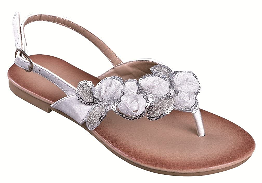 fe4d1418bb85 Amazon.com | Fourever Funky White Floral Wedding Bridal Flat Women's Thong  Sandals (6) | Flip-Flops