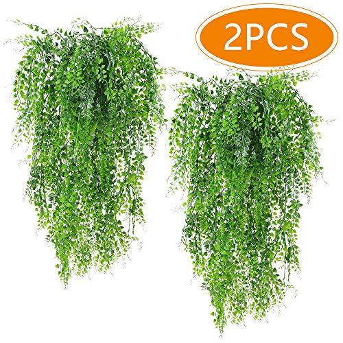 (Musdoney 2Pcs Artificial Plants Vines Ferns Persian Rattan Fake Hanging Ivy Decor Plastic Greenery for Wall Indoor Outdoor Hanging Baskets Wedding Garland Decor)