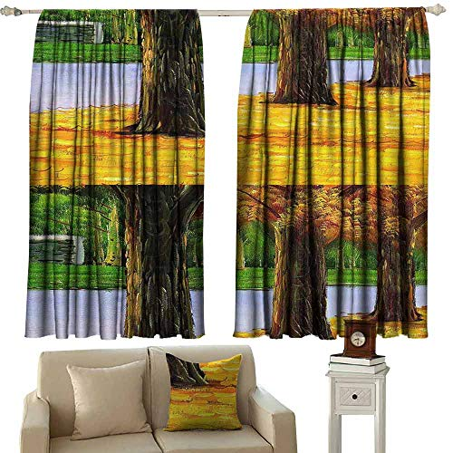 Mannwarehouse Fresh Curtains Floral Century Decoration Tuscany Decoration European Design Modern Art Print Country Style Fashion Darkening and Thermal Insulating 63