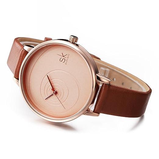 Amazon.com: SK Women Watches Leather Band Luxury Quartz Watches Girls Ladies Wristwatch (QQ Brown): Watches