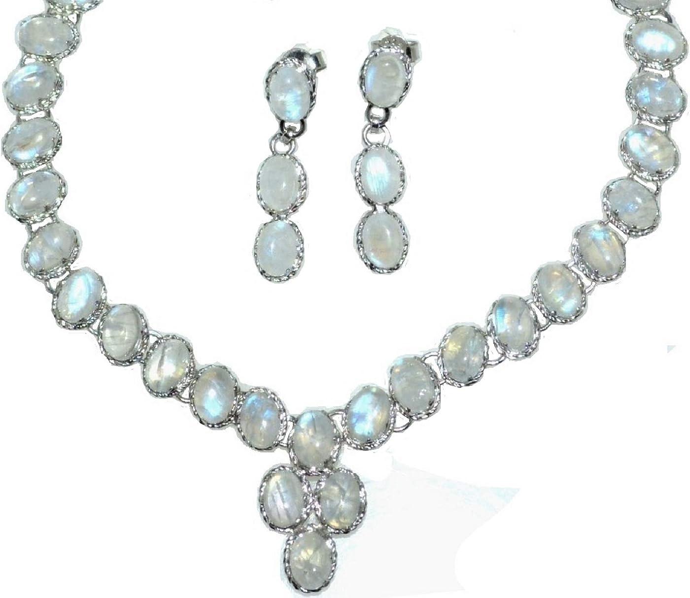 Broche de plata de ley y piedra de luna arco iris juego de collar y pendientes con cristales de, hecha a mano 925 joyas de regalos de piedra del mes