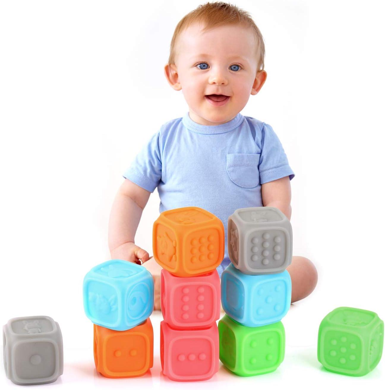 EKKONG Juguetes Bebes, 3D Bloques Suave para Bebés 0-3 años, Juguetes para Masticar la Dentición Juguetes Baño, Educativos Bloques con Números, Formas, Animales, Insectos (10pcs)