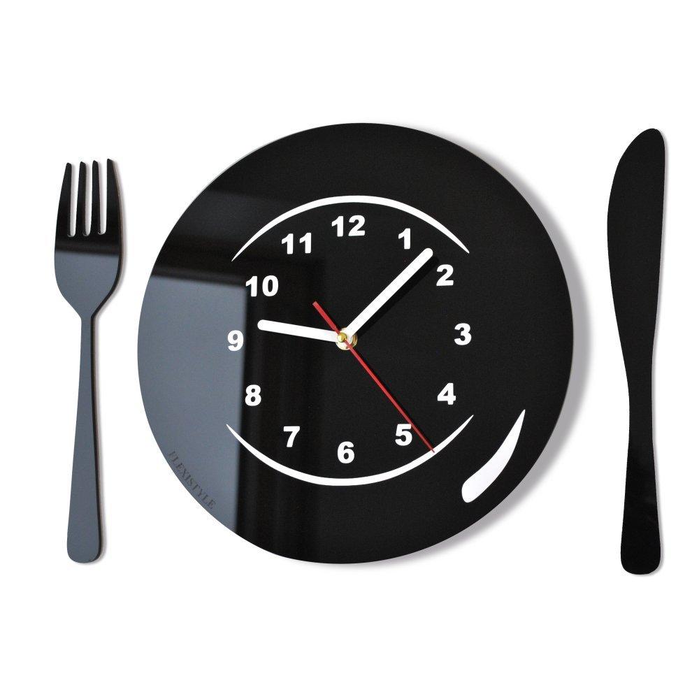 Moderno orologio da parete orologio da parete Posate e Piatto verde cucina, bar decorativo moderno 3d FLEXISTYLE