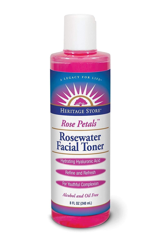 Heritage Store Heritage Store Rose Petals Rosewater Facial Toner Alcohol Free Vegan, Liquid, Rose (btl-plastic) 8oz, 8 Fluid Ounce