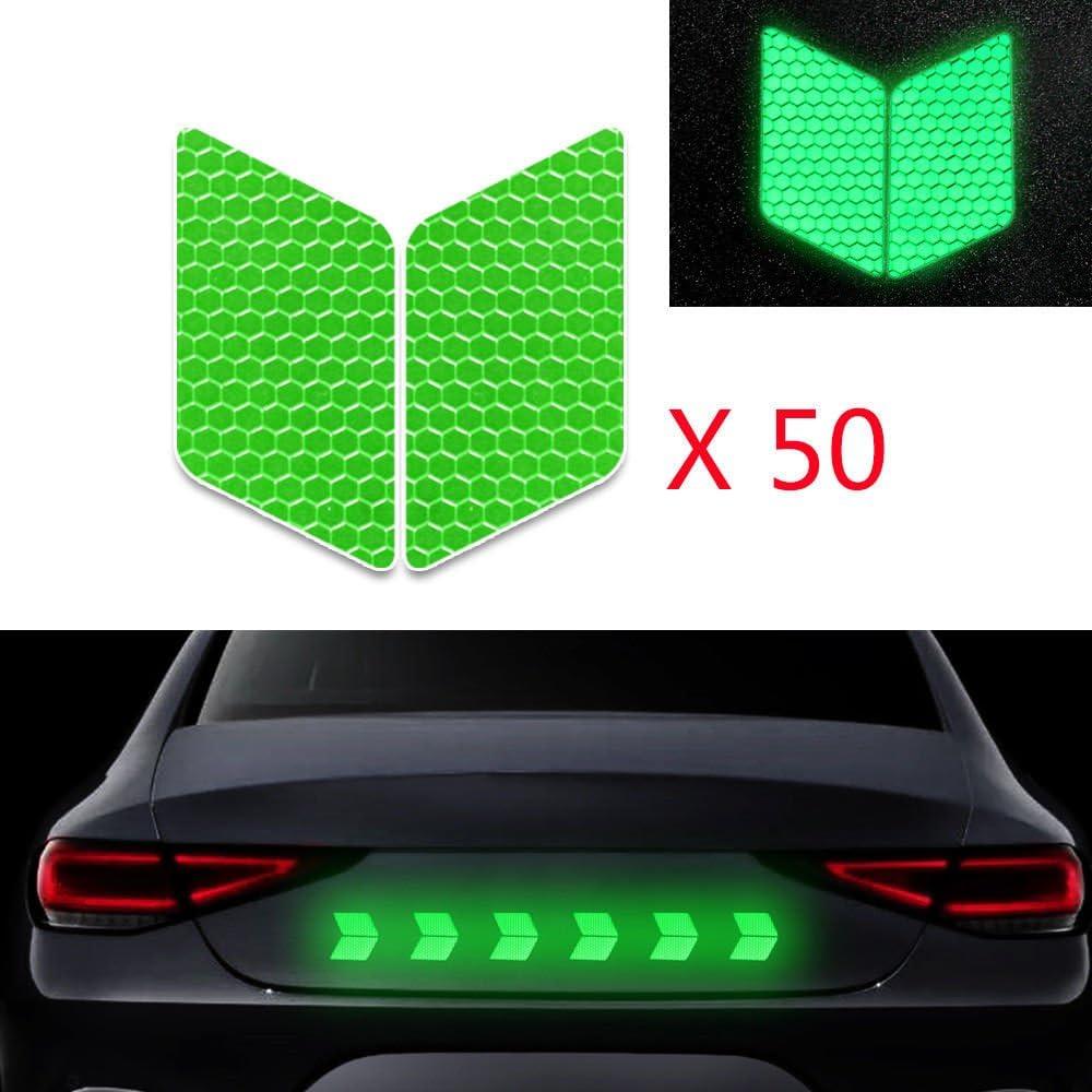 50x Alta Intensidad Pegatina Cinta Reflectante Autoadhesivo para Camión de la Motocicleta del Barco de la Bici del Casco del Remolque del Coche Forma de Diamante Verde