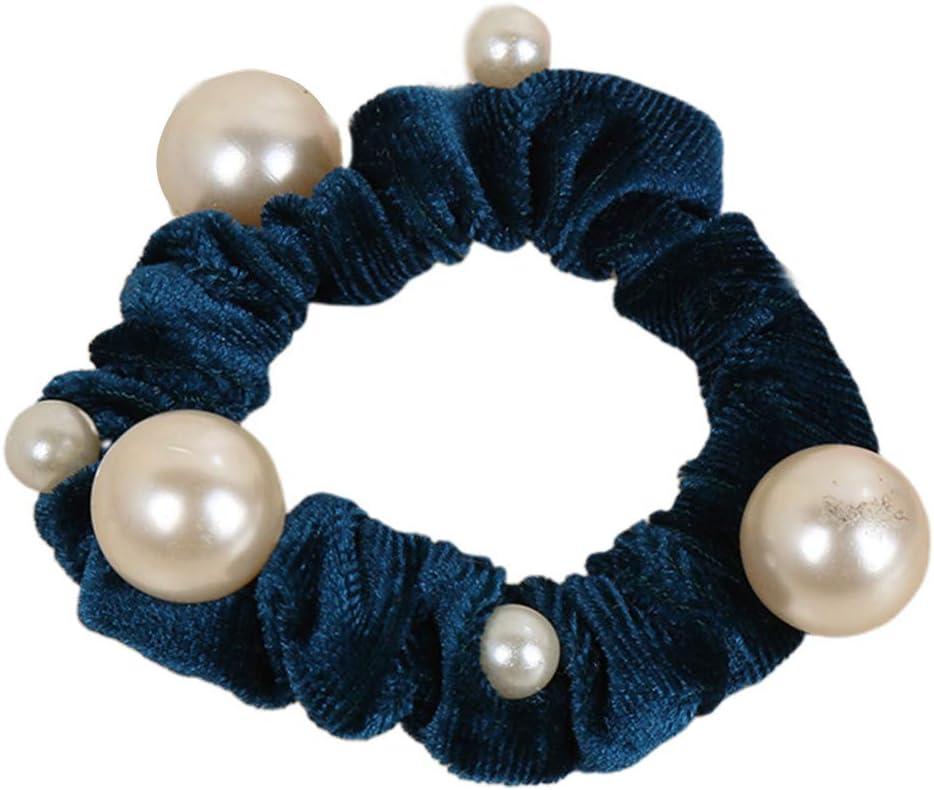 Supefriendly Titular de cola de caballo adornado con perlas de imitación irregular De La Cola De Caballo Para Mujeres Niñas-BL