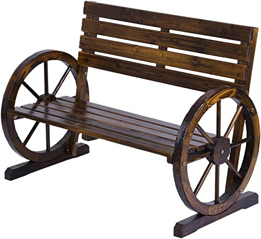 Rustic Wood Design Home Garden Wagon Wheel Bench Decor