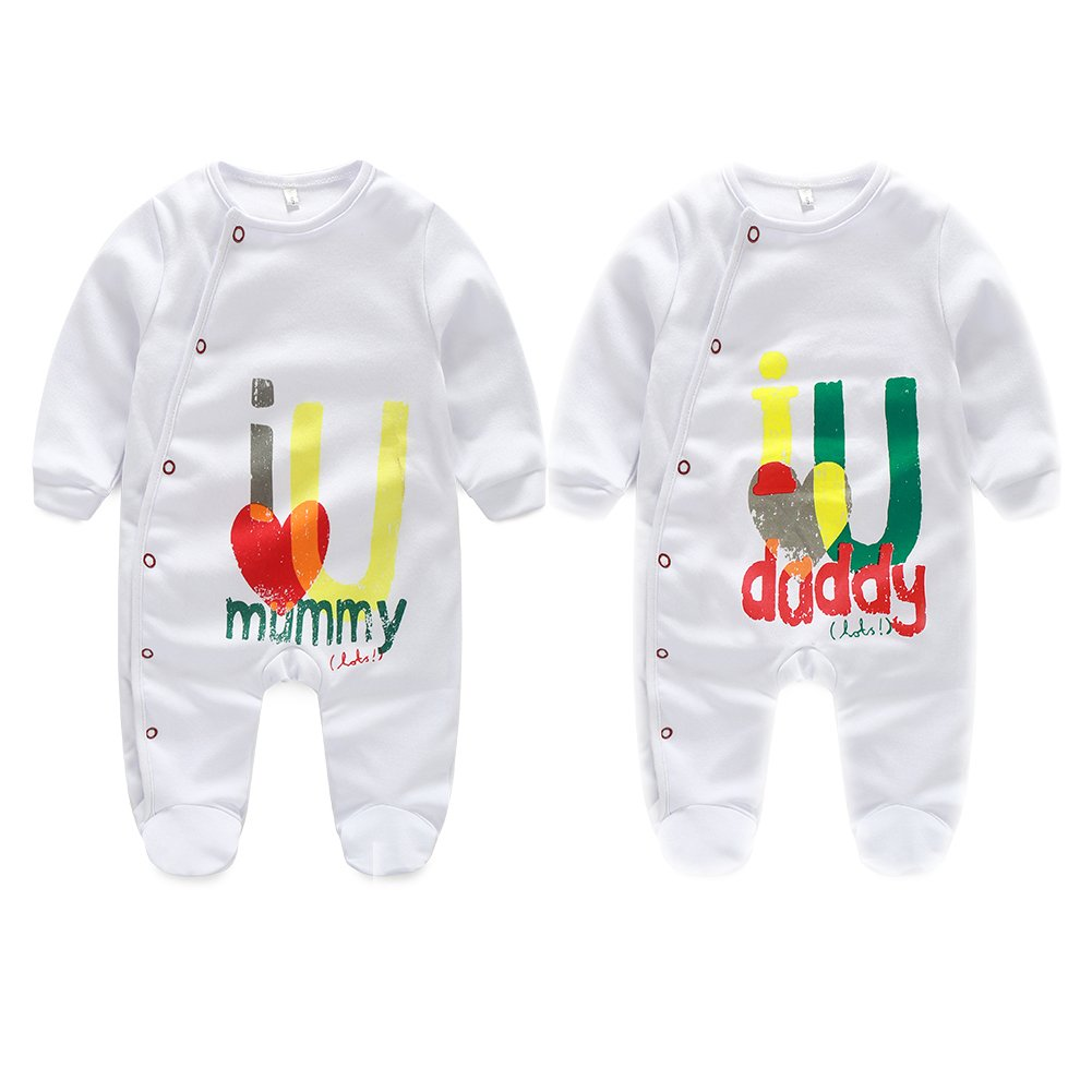 Unisex-Baby Newborn Footie Long Romper I Love Mummy I Love Daddy Bodysuit 2 Pack AOMOMO