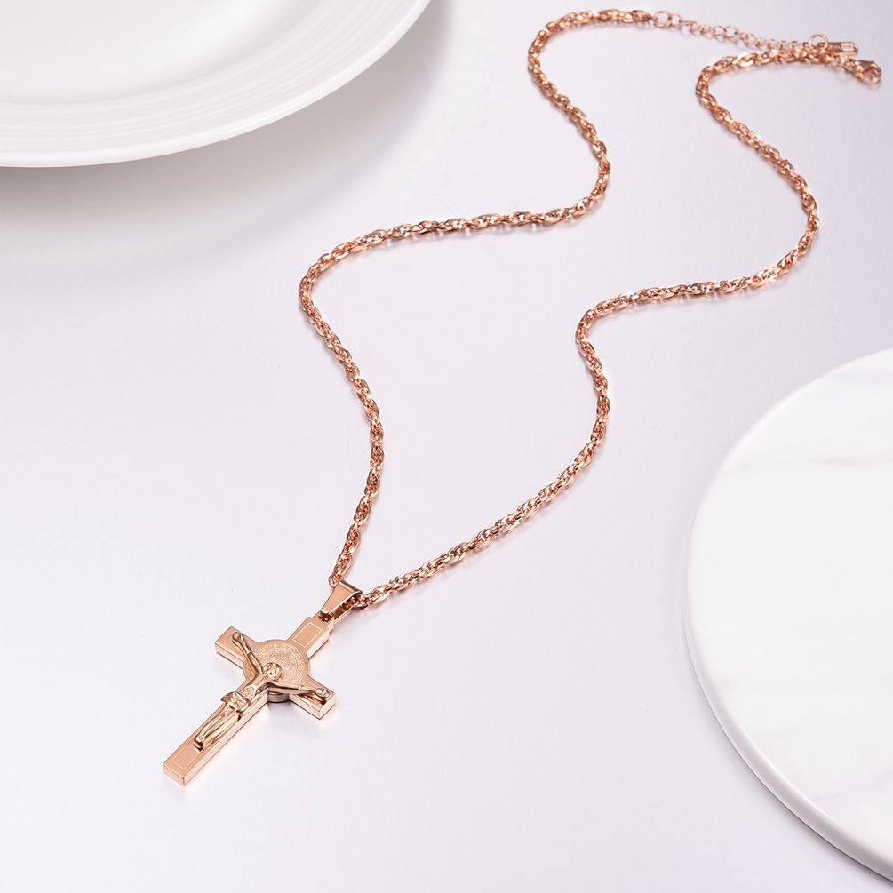 6f01aa082 PROSTEEL Collier Homme Croix Cha/îne et Pendentif Crucifix Bijoux ...