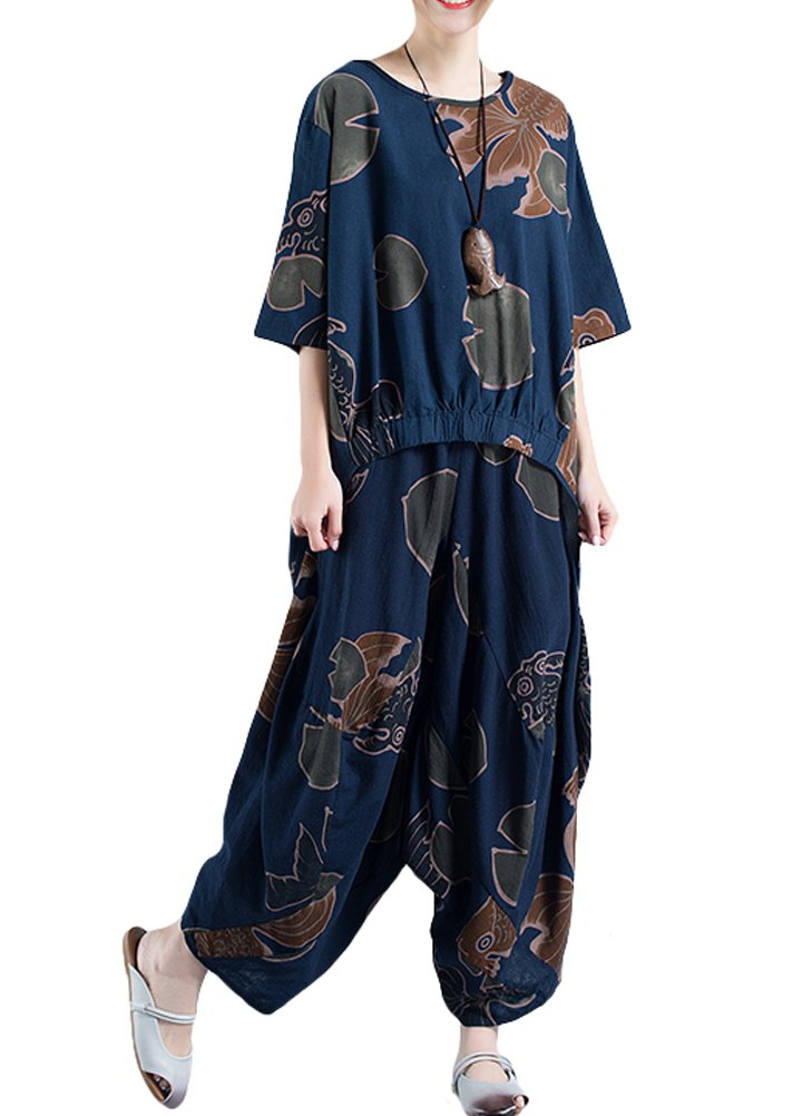 Minibee Women's Ethnic Hi-low Top And Wide Leg Pants Set Outfits Fit US 4-18 Blue by Minibee