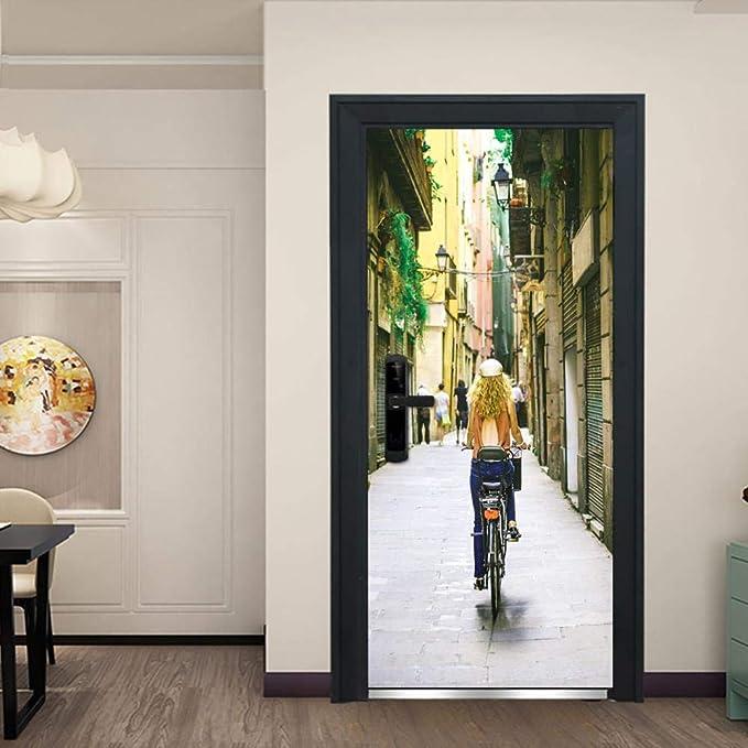 WSDDSB Etiqueta De La Puerta 3D Mural De La Puerta 80X200 Cm ...