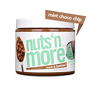 Nuts 'N More Mint Chocolate Chip Peanut Butter Spread, All Natural High Protein Nut Butter Healthy Snack, Omega 3's, Antioxidants, Low Carb, Low Sugar, Gluten-Free, Non-GMO, no preservatives,16 oz Jar