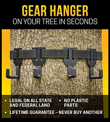 Treestand Pack (TREESTAND GEAR HANGER - NEW FOR 2018 = COATED HANGERS TO ELIMINATE NOISE and NON SLIP ATTACHMENT - ON YOUR TREE IN SECONDS! - ONLY GEAR HANGER WITH NO PLASTIC PARTS)