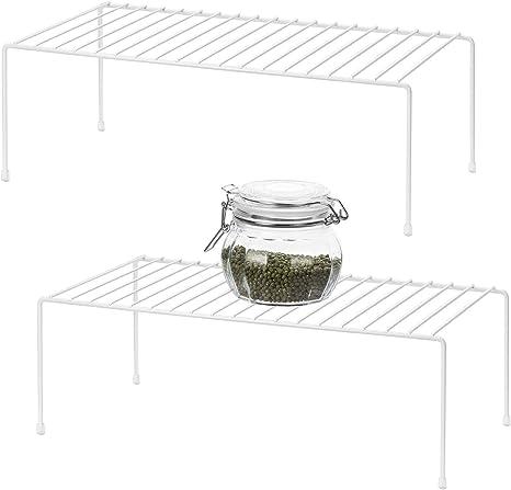 Kitchen Storage Shelf Wire Rack - White (Pack of 2)