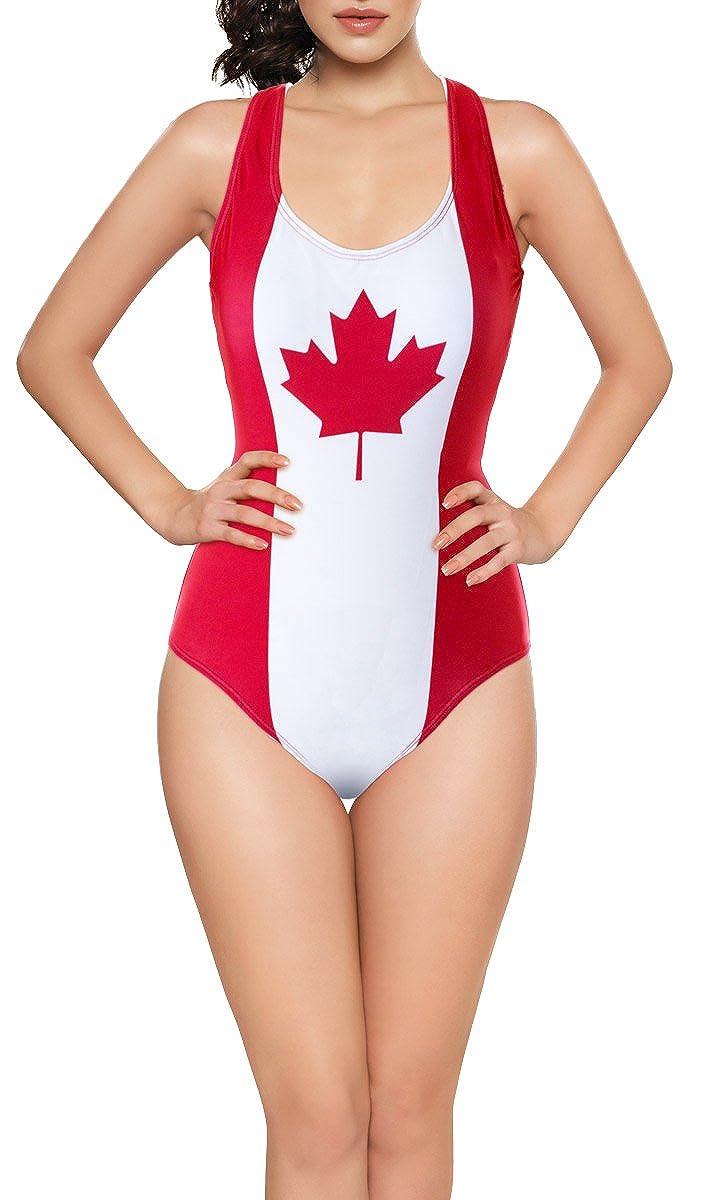 Calhoun Ladies Canada Flag One-Piece Swimsuit